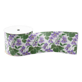 Mauve Violets Floral Custom Grosgrain Ribbon