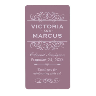 Mauve Wedding Wine Bottle Monogram Favor Labels