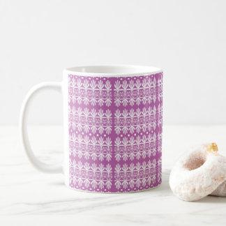 Mauve White Decorative Mug