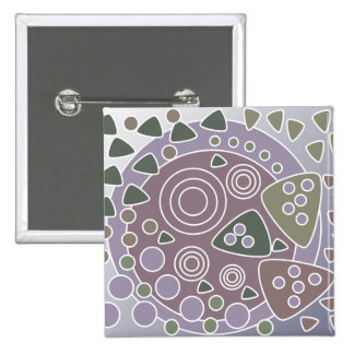 Mauve White Green Abstract Circles 15 Cm Square Badge