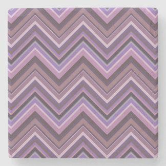Mauve zigzag stripes stone coaster