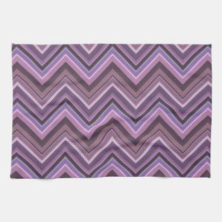 Mauve zigzag stripes tea towel