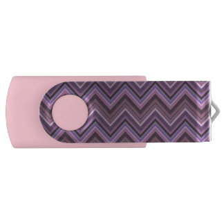 Mauve zigzag stripes USB flash drive