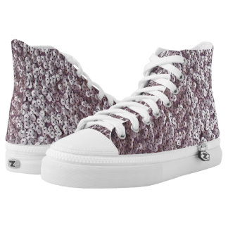 Mauvy-Pink Sequined High Tops