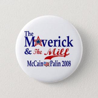 maverick and milf 6 cm round badge