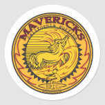 MAVERICKS CALIFORNIA SURFING ROUND STICKER