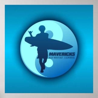 Mavericks -Half Moon Bay (Blue) Poster