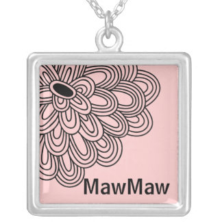 MawMaw Necklace Trendy Black Flower on Pink