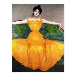 Max Kurzweil- Lady in Yellow Dress Postcard