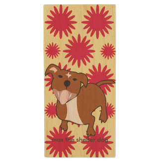 Max   Red Flowers Maple, 8gb, Rectangle Wood USB Flash Drive