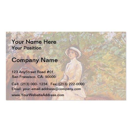 Max Slevogt- Lady in White Dress on Horseback Business Card Templates