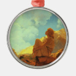 Maxfield Parrish Morning (Spring) Vintage Art Silver-Colored Round Decoration