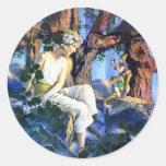 Maxfield Parrish's Fair Princess and the Gnomes Round Sticker
