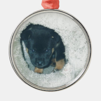 maxie puppy Silver-Colored round decoration