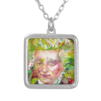 MAXIMILIEN ROBESPIERRE - watercolor on paper Silver Plated Necklace