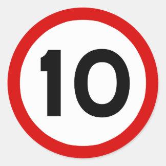 Maximum Speed Limit Funny Birthday Age 10 Ten Round Sticker