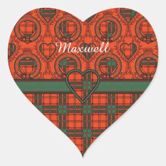 Maxwell clan Plaid Scottish tartan Heart Sticker
