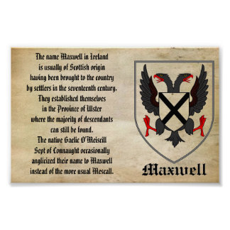 MAXWELL FAMILY CREST AND ORIGIN OF THE NAME POSTER