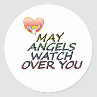 MAY ANGLES WATCH OVER YOU CLASSIC ROUND STICKER
