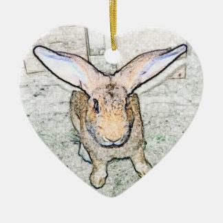 May Bunny Ceramic Heart Decoration