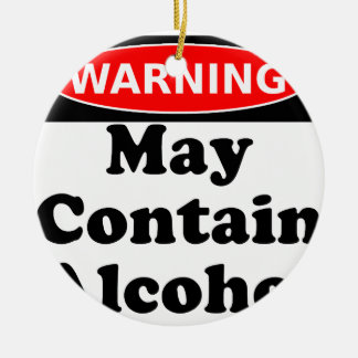 May Contain Alcohol Round Ceramic Decoration