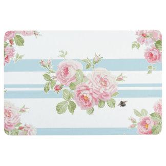 May Day Summer Roses aqua stripe floor mat