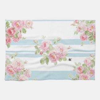 May Day Summer Roses aqua stripe Tea Towel