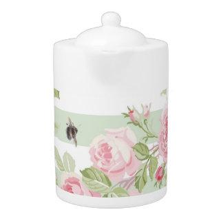 May Day Summer Roses basil stripe large Tea Pot