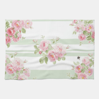 May Day Summer Roses basil stripe Tea Towel