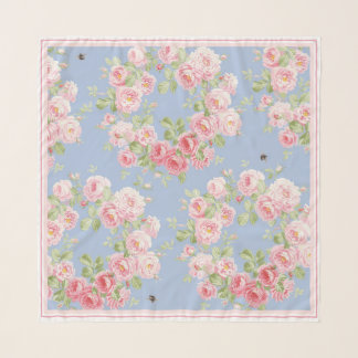 May Day Summer Roses blueberry square scarf