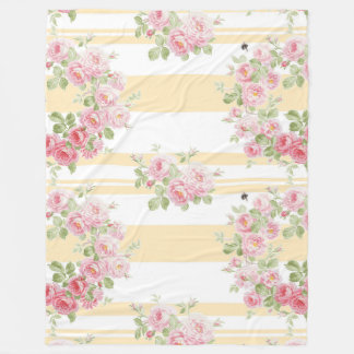 May Day Summer Roses buttercup stripe Fleece Blanket