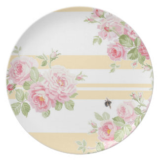 May Day Summer Roses buttercup stripe Plate