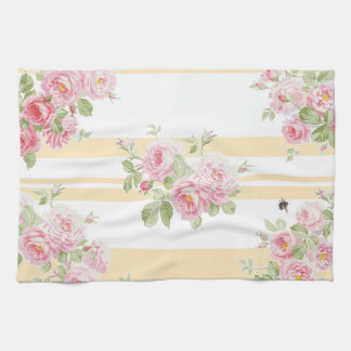 May Day Summer Roses buttercup stripe Tea Towel