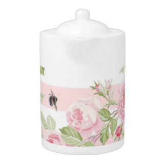 May Day Summer Roses on peony stripe large tea pot