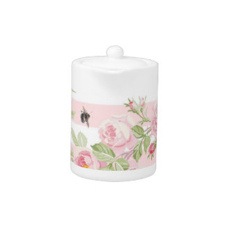 May Day Summer Roses peony stripe small teapot
