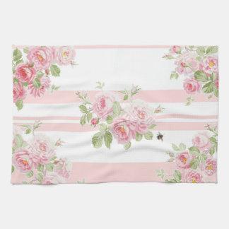 May Day Summer Roses peony stripe Tea Towel