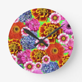 May Flowers Round Clock