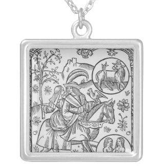 May, from the 'Almanach des Bergers', 1491 Silver Plated Necklace