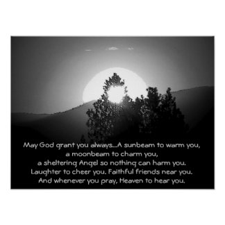 May GOD Grant You Always...Irish Blessing Poster