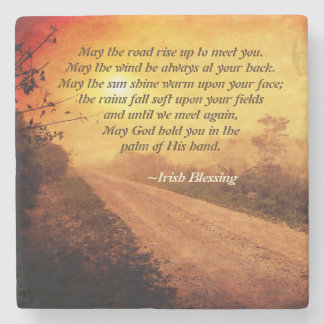 May the Road Rise up to Meet You, Irish Blessing Stone Coaster