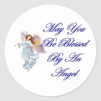 May You Be Blessed By An Angel Round Sticker
