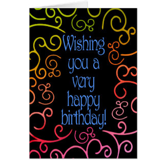 May Your Birthday Bloom Like a Rainbow Plume-Swirl Card