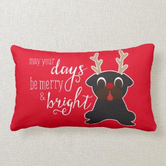 May Your Days Merry Christmas Pug Reindeer Pillow