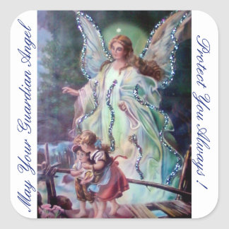 MAY YOUR GUARDIAN ANGEL PROTECT YOU ALWAYS! SQUARE STICKER
