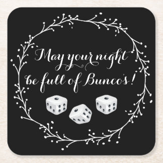 May Your Night Be Full Of Bunco's! Square Paper Coaster