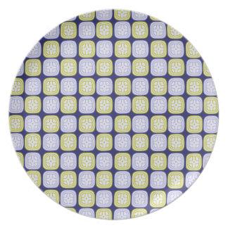 Maya sun glyph pattern on blue background party plate