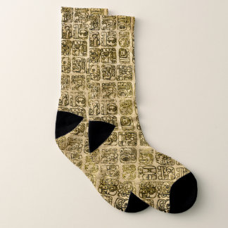 Mayan and aztec glyphs gold on vintage texture 1