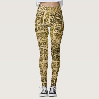 Mayan and aztec glyphs gold on vintage texture leggings