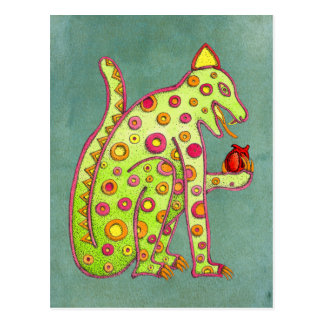 Mayan Aztec Jaguar on Green Background Postcard