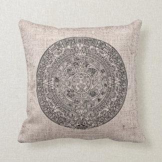 Mayan Aztec Sun Calender on Burlap Cushion